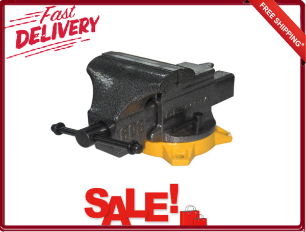 6 Inch Jaw Workbench Vise Swivel Range With Lock Lever Permanent Pipe Jaws New