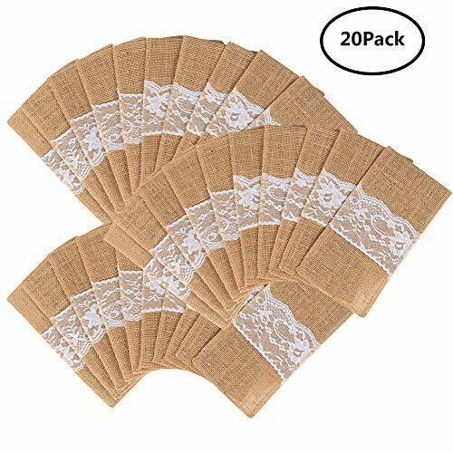 20pc Natural Burlap Lace Silverware Napkin Holder Knife Fork Cutlery Pouch 4x8''