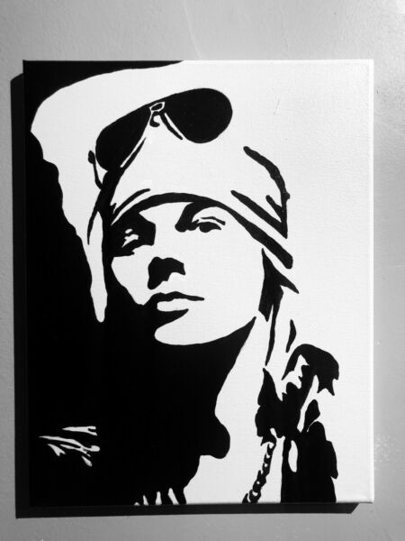 Hand painted art canvas 11x14 AXL ROSE Acrylic painting Black amp; White