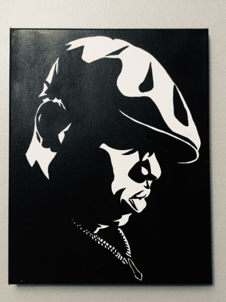 Hand painted art canvas 16x20 Inches BIGGY SMALL Acrylic painting Black amp; White