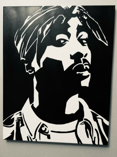 Hand painted art canvas 16x20 Inches TUPAC Acrylic painting Black amp; White