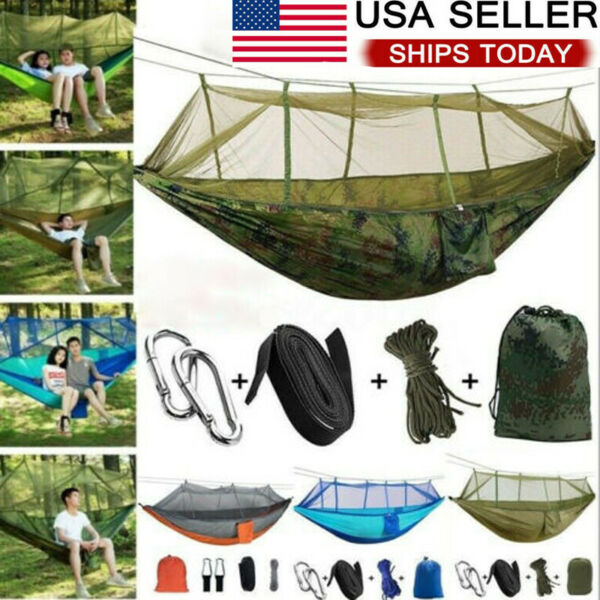 Double Camping Hammock with Mosquito Net Nylon Tent Hanging Bed Outdoor Portable $26.99