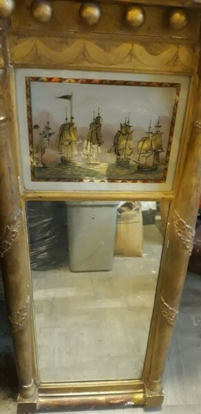 Antique Federal Style Giltwood Mirror with Eglomise Panel19th Century 1 2 price