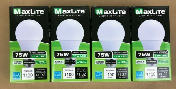 4 Bulbs LED 11W Cool White 4000K A19 75W Replacement Maxlite Dimmable Four Pack