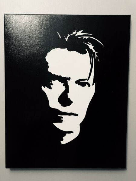 Hand painted art canvas 11x14 Inches DAVID BOWIE Acrylic painting Black amp; White