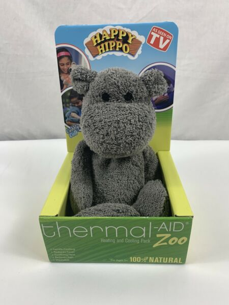 "Thermal Aid Zoo Gray Hippo ""Happy"" 100% Natural Heating Cooling Pack NIB $9.99"