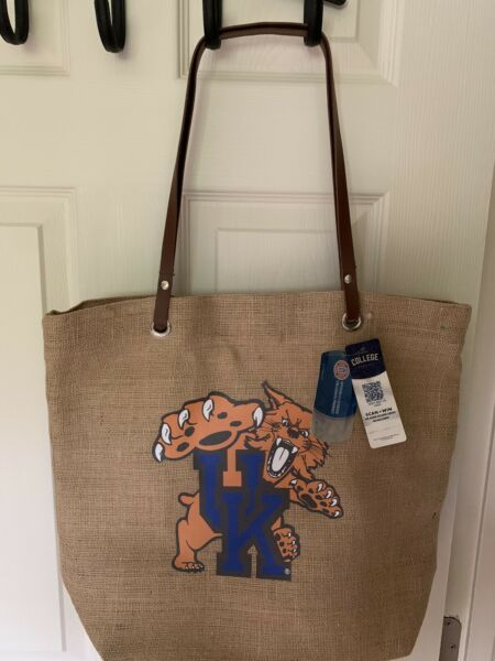 University of Kentucky Burlap Tote Bag. Great For Pool Beach And Everyday Use