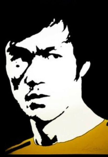 """Hand painted art canvas 16""""X20"""" BRUCE LEE """"Acrylic painting Black amp; White"""