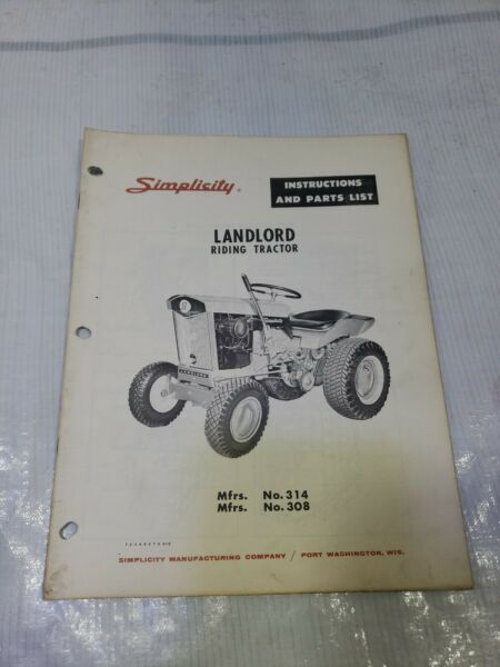 Simplicity Landlord 1963 Lawn Garden Riding Tractor Owner amp; Parts Manual 314 308