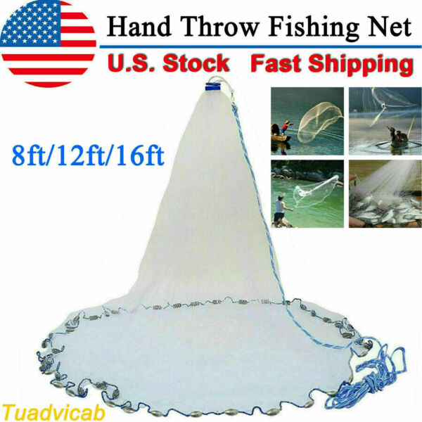 8ft 12ft 16ft Saltwater Fishing Cast Net For Bait Trap Height Easy Throw Sink US