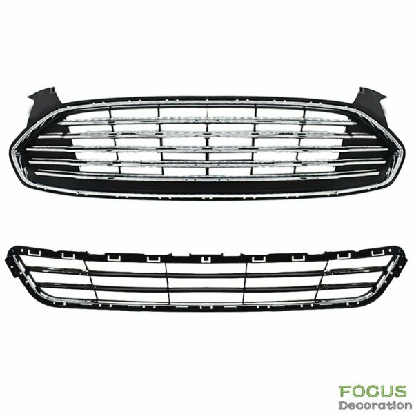 Upperamp;Lower Front Radiator Grille Grill Kit For 13 2016 Ford Fusion Mondeo