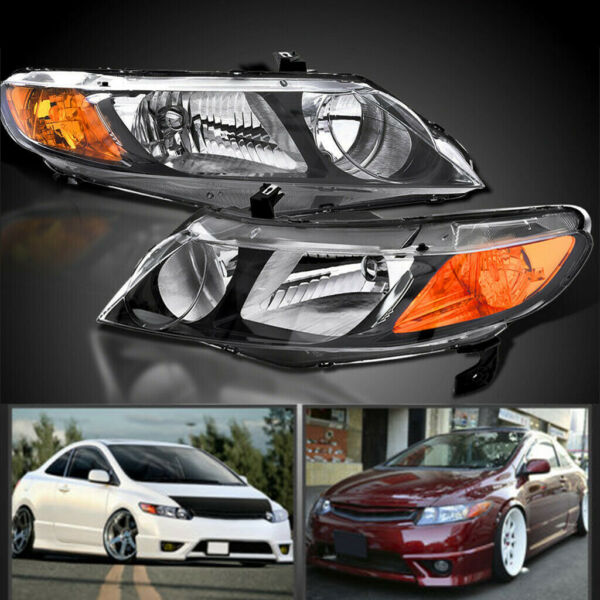 2006-2011 HONDA CIVIC 4DR SEDAN BLACK HOUSING AMBER REFLECTOR HEADLIGHTS LAMPS