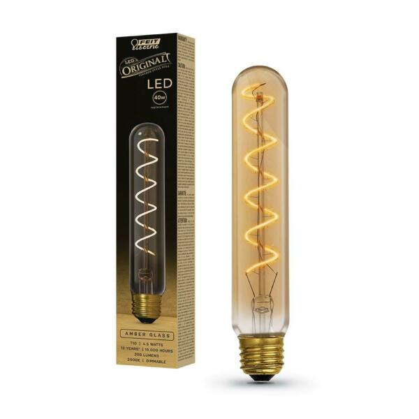 Feit Electric 40W Equivalent T10L Dimmable LED Amber Glass Vintage Edison Large $9.63