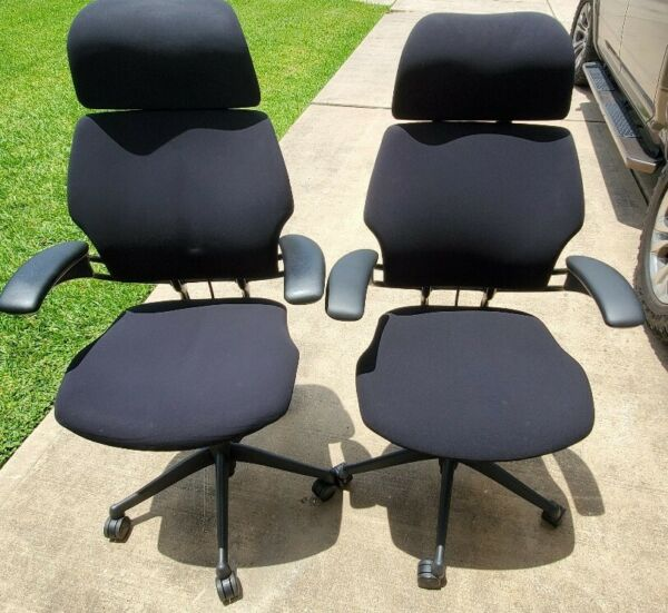 Humanscale Freedom Task Chair Black F211 Hematite Lotus w Headrest Armrest 810