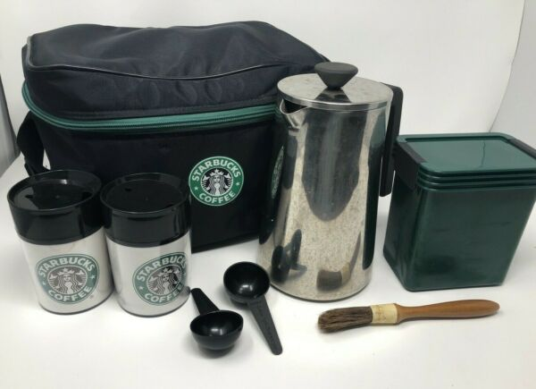 Starbucks Insulated Bag Cooler w 2 cups amp; metal coffee Press amp; Container