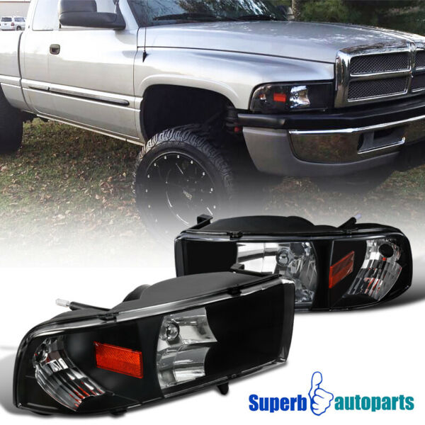 For 1994-2001 Dodge Ram 1500/2500/3500 1PC Headlights Black Lamps Replacement