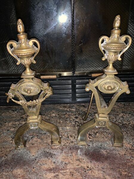"Unusual Antique French Brass Fireplace Andirons 16"" Firedogs Log Holders"