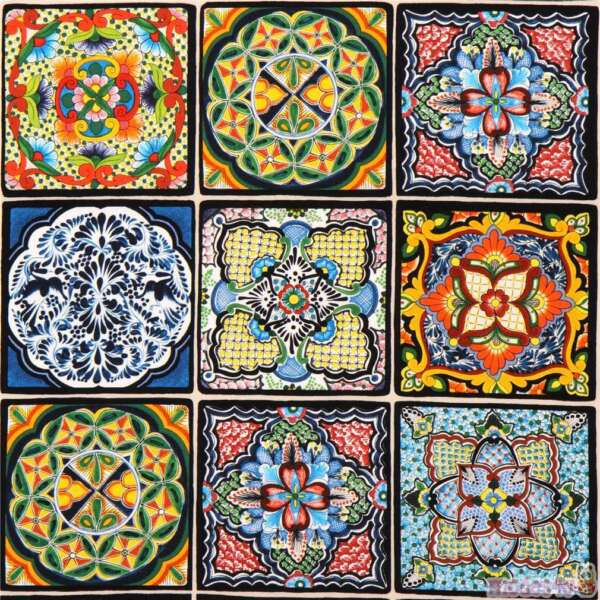 Fabric Mexican Siesta Tiles Cotton Elizabeth 9quot; Panel 18sq#x27;s 264E $2.99