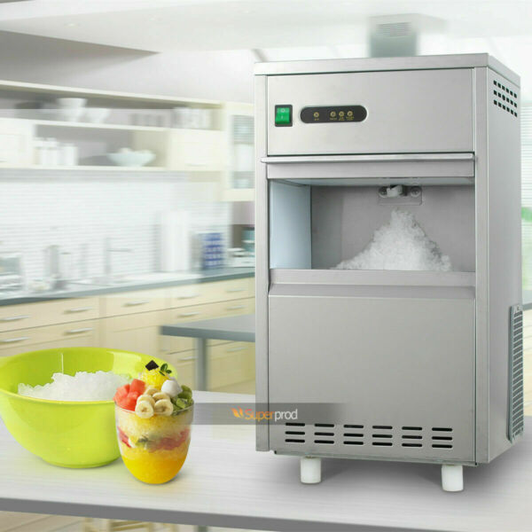 44LbsDay Flake Snow Ice Maker Machine Stainless Steel Home Kitchen Auto Crusher
