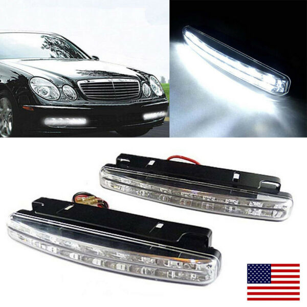 2x 8 LED 12V Daytime Running Lights Car Driving DRL Fog Light White Bright Lamps