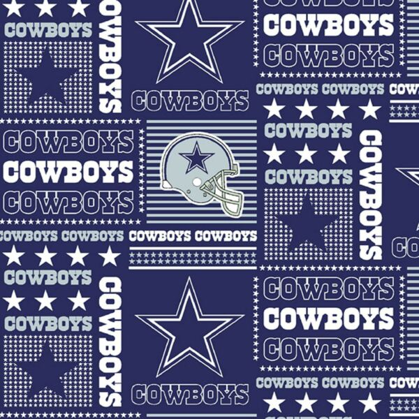 Fabric NFL Football Dallas Cowboys Patchwork Navy Cotton 1 4 Yard 60quot; Wide 6424
