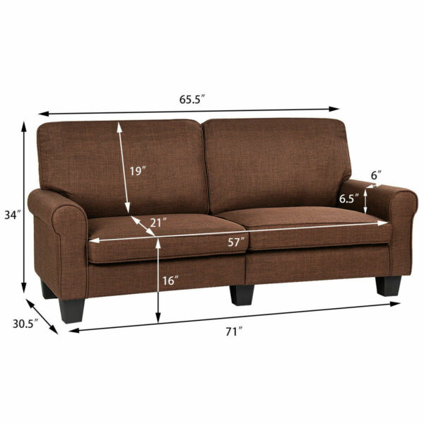 Sofa Couch Loveseat Fabric Upholstered Curved Armrest Home Living Room Furniture