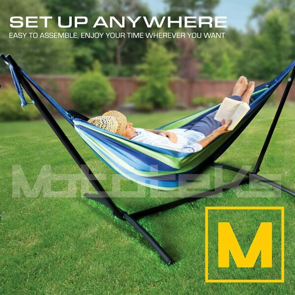 Hammock with Stand Steel Portable Double Swing Bed with Carry Case for Outdoor $55.99