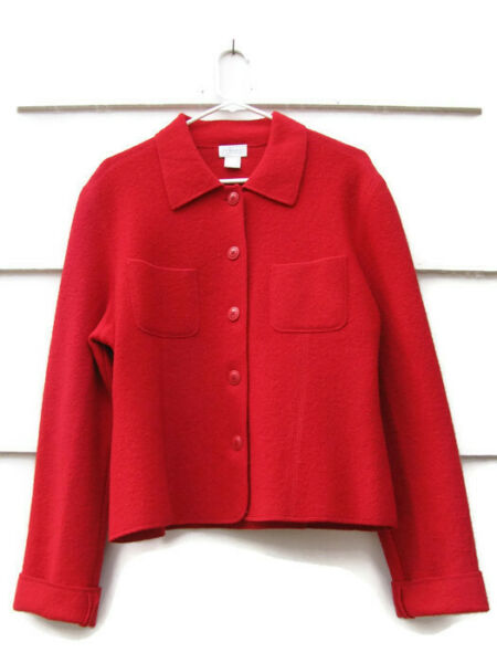 Willi Smith Women's Cardigan Sweater Blazer Front Button 100% Wool Size Large