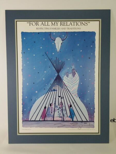 SAM ENGLISH Signed DISCUSSION OF TRADITIONS 1996 HUGE Posterboard Matted Indian