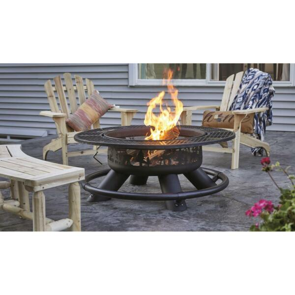 New 47quot; Ranch Fire Pit With BBQ Grate Table Ring Garden Backyard Durable Firepit