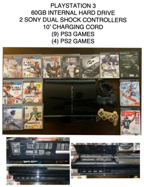 Sony PlayStation 3 PS3 CECHK01 60GB Video Game Console Bundle