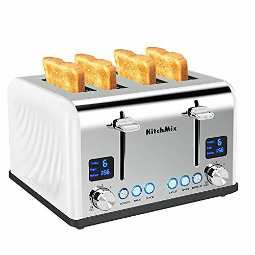4 Slice Toaster Stainless Steel Extra Wide Slots Cool Touch BAGEL CANCEL DEFROST