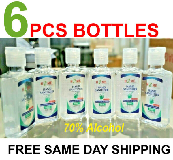 6 Pieces Hand Sanitizer Gel 70% Alcohol With Gel  Travel Size  2.02 Oz