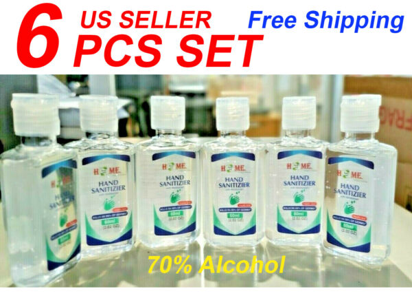 Hand Sanitizer With Aloe Vera Gel 60 ml (2.02 Oz)6 Pieces Set 70% Alcohol