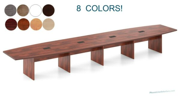 26 ft Foot MODERN Conference Table with Grommets for Power WHITE GRAY 8 Colors