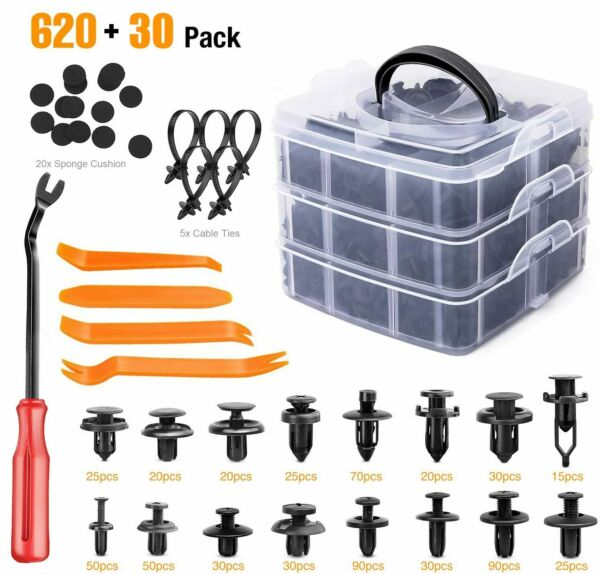 650 Pcs Car Retainer Clips Auto Fasteners Push Trim Clips Pin Rivet Bumper Kit $21.16