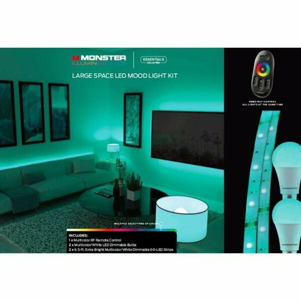 Monster Large Space Led Mood Light Kit with Adapter 2 Up 6.5 ft. NEW $68.00