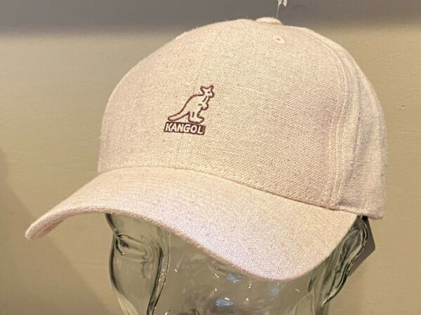 $40 KANGOL Adjustable Linen Burlap Beige SHARP Baseball Golf Cap Hat NEW