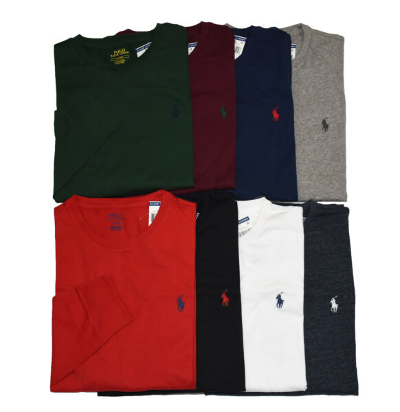 Men Polo Ralph Lauren LONG SLEEVE Crew Neck T Shirt S M L XL XXL STANDARD FIT