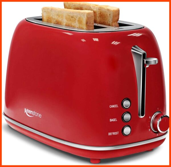Keenstone Retro 2 Slice Toaster Stainless Steel W Bagel Cancel Defrost Fuction amp;