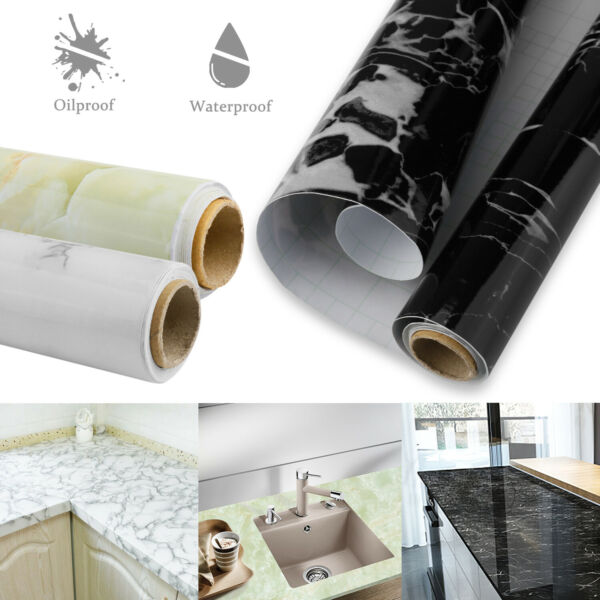 Kitchen Marble Wall Stickers Oil Proof Waterproof Self Adhesive Wallpaper Decor $14.95