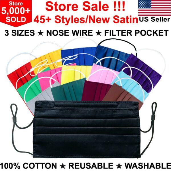 Black Face Mask Washable Reusable with Nose Wire with Filter Pocket Cotton Satin