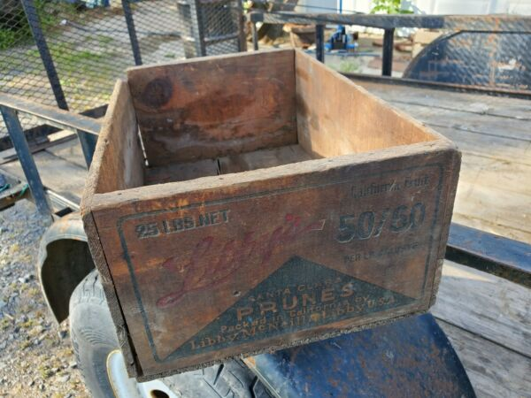 Vintage Antique Libby#x27;s California Prune Wood Crate