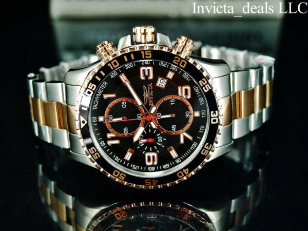 Invicta Mens 45mm PILOT Specialty Chrono Black Dial 18K Rose Gold 2Tone SS Watch