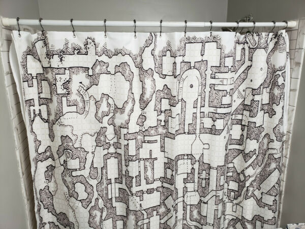 Dungeons & Dragons SHOWER CURTAIN MAP Vintage D&D map Pathfinder D20 FREE SHIP