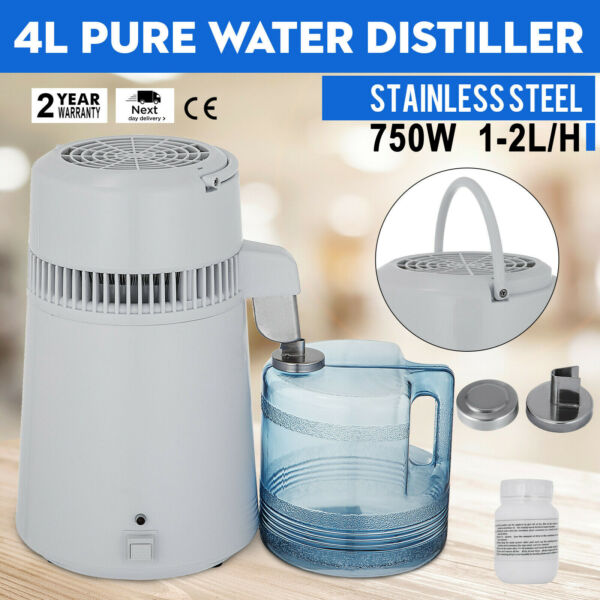 4L 750W Water Distiller Purifier Stainless Steel Distilled Purified Home Medical