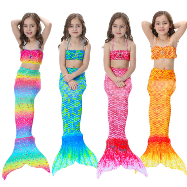 Kids Girls Mermaid Tail Bikini Swimsuit Costume swimwear 3 Pcs Set 3 12 Years $19.98