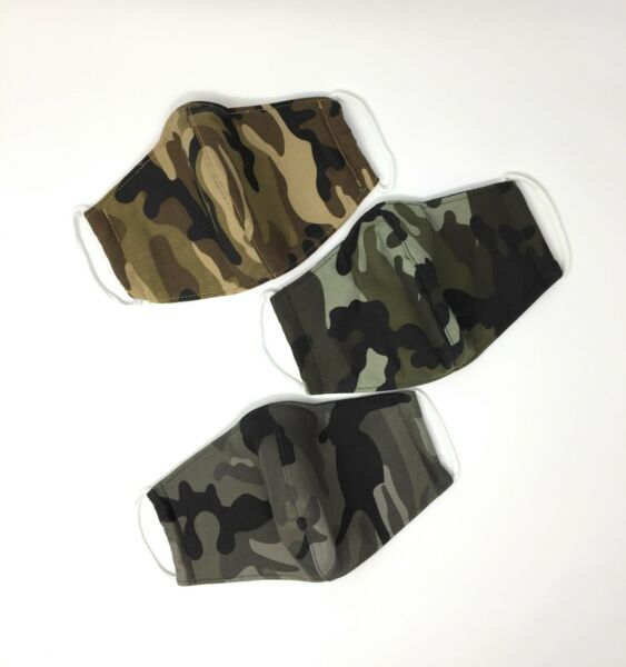 Pack of 3 - Reusable Washable Three - Layer Cotton Cloth Face Mask Camouflage