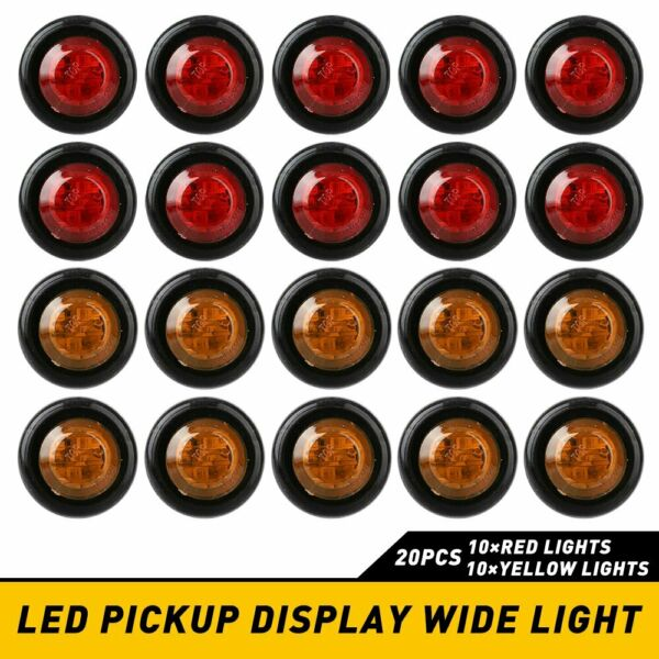 20PC Red Amber LED Bullet Side Marker Light Flush Mount Truck Trailer 3 4quot; EA $16.89