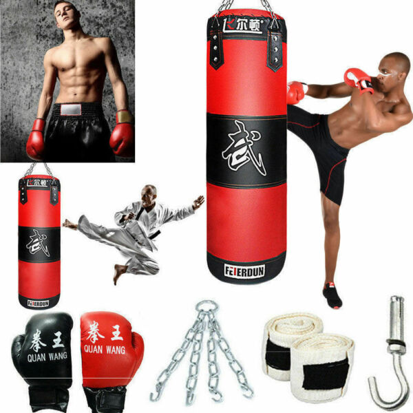 Heavy Boxing Punching Bag Training Gloves Speed Set Kicking MMA Workout GYM